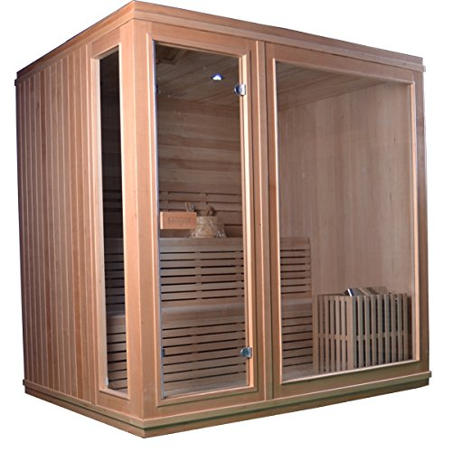 ALEKO STI6LAHTI Canadian Hemlock Indoor Outdoor Wet Dry Sauna