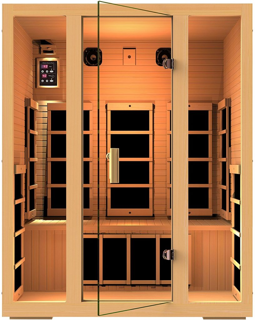 JNH Lifestyles Joyous 3 Person Canadian Hemlock Wood 8 Carbon Fiber Heaters Sauna